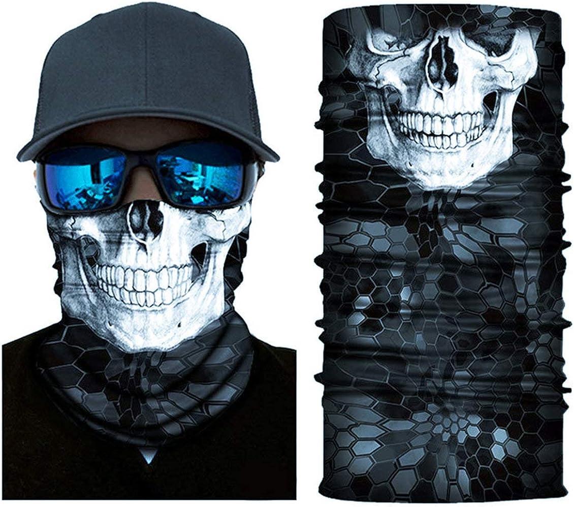 XINGZHE Balaclava Men Halloween Skull Face Mask Headwear Neck Gaiter Head Warmer Full Face Sun Mask Magic Scarf Bandana Headband for Cycling Fishing Motorcycle Moisture Wicking UV Protection Black