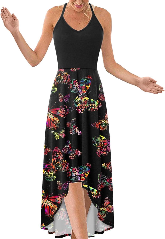 Women's Summer Spaghetti famous Strap Louisville-Jefferson County Mall Maxi Boho Printing V-Neck Dresses