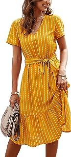 BROVAVE Women's Summer Short Sleeve Striped Casual Tie Waist V-Neck Flowy Midi Dress