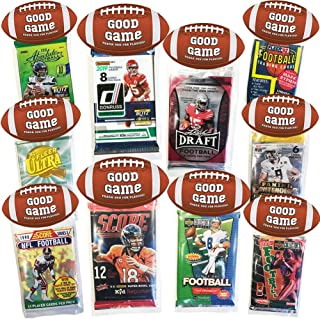 Football Party Favors 10 Pack, Includes 10 New Assorted Football Card Packs, Kids Party Supplies, Fantasy Football Draft, Creative HASSLE FREE Pre Assembled Football Cards Goodie Gift Bags Party Favor