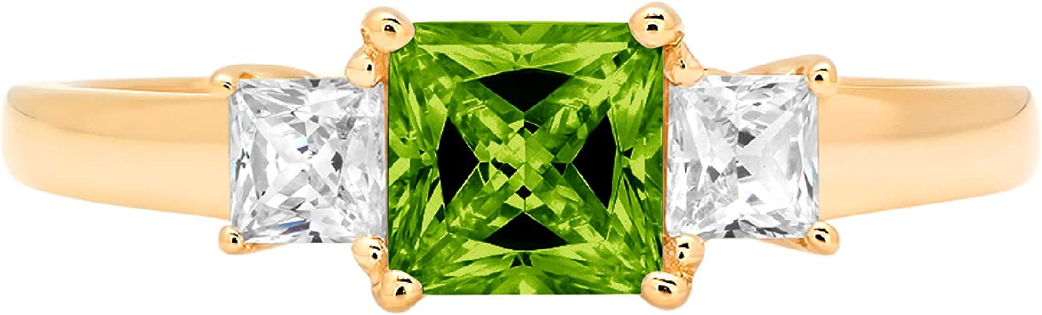 0.95 ct Princess cut 3 stone Solitaire with Accent Designer Genuine Natural Green Peridot Gemstone Ideal VVS1 Engagement Promise Statement Anniversary Bridal Wedding Ring 14k Yellow Gold
