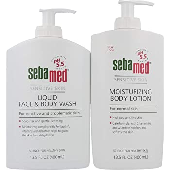 Sebamed Liquid Face and Body Wash and Moisturizing Body Lotion Set pH 5.5 for Sensitive Skin 13.5 Fluid Ounces Each Paraben-Free (400 mL Bottles with Pump) Value Pack Set