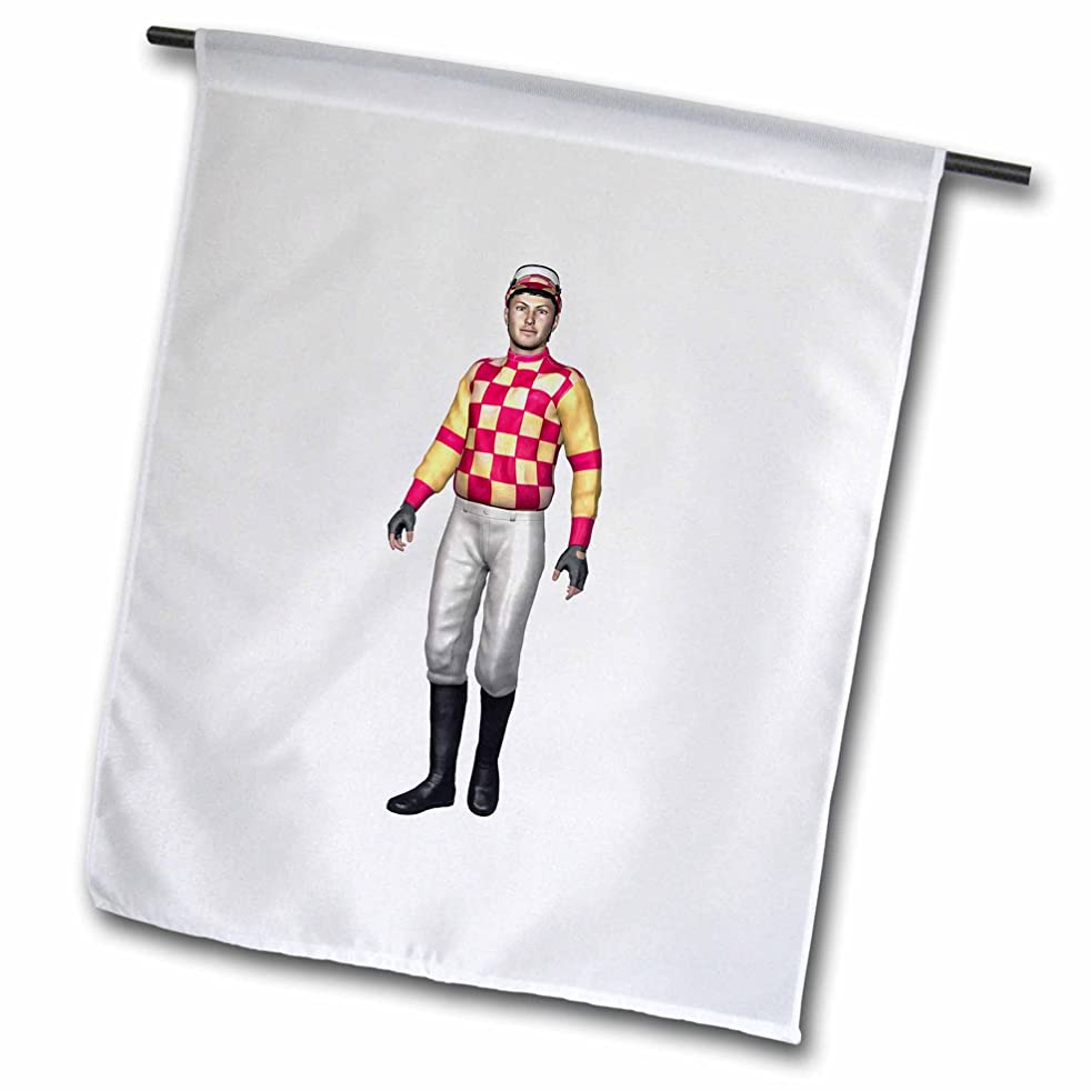 Boehm Graphics Sport - Racing Jockey in Yellow and Red Uniform Walking - 12 x 18 inch Garden Flag (fl_234167_1)