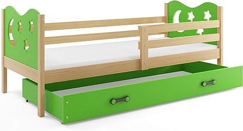 Kinderbett Miko 190x90cm Kiefer + 2. Farbe zur Wahl; mit Lattenrost und Matratze (Grün)