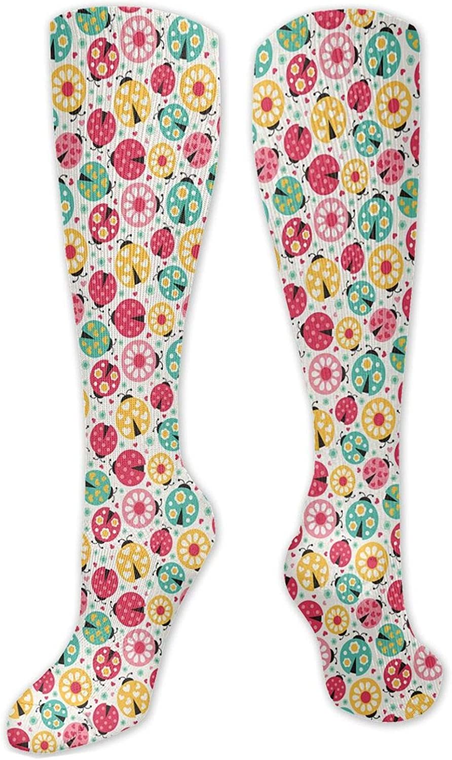 Compression High Max 89% OFF Socks Abstract Spring new work Bug With Many Hearts Differents