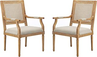 Stone & Beam Vintage Dining Chair with Arms, 37 Inch Height, Beige, Set of 2