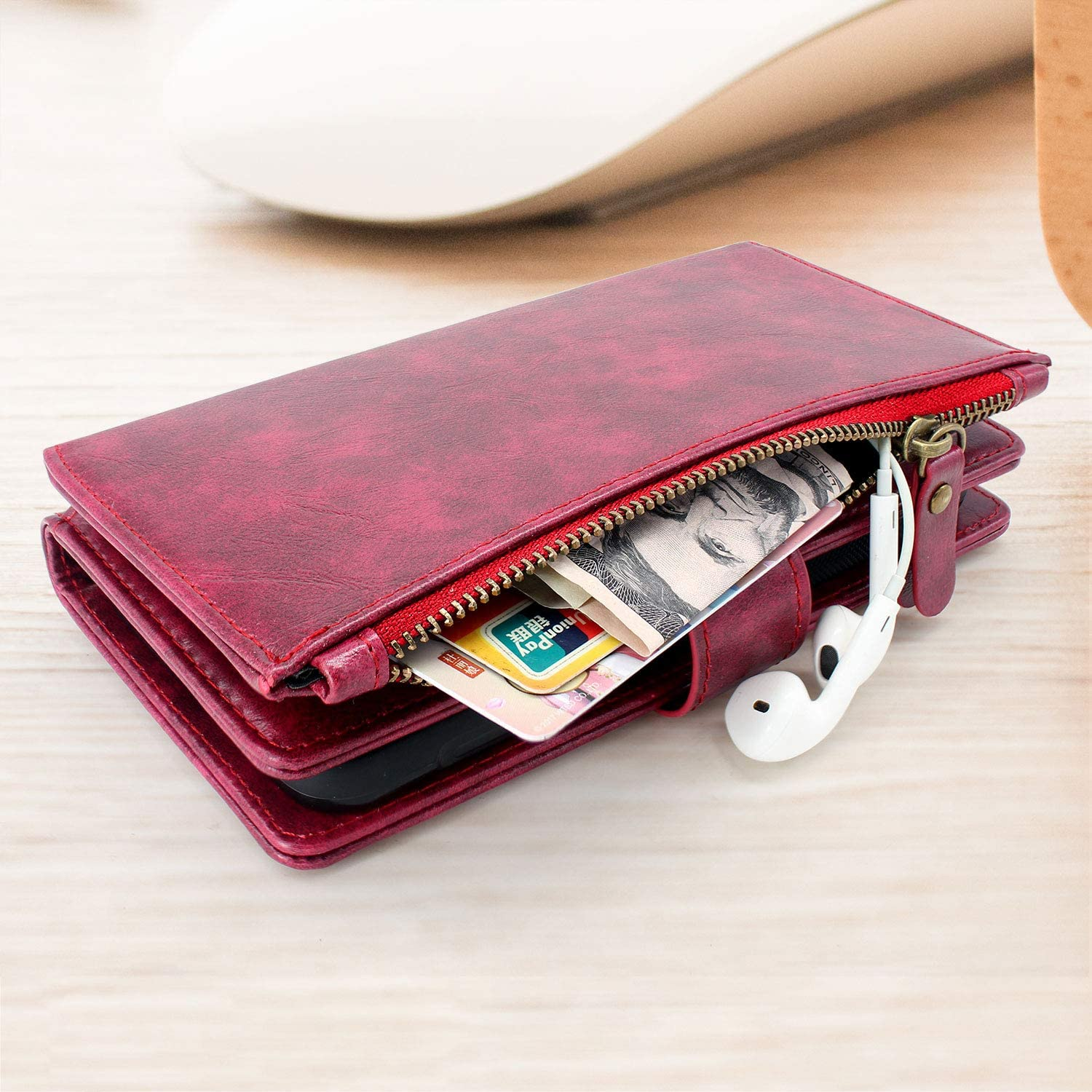 Harryshell Detachable Magnetic Zipper Wallet Leather Case Cash Pocket with 12 Card Slots Holder Wrist Strap Removable Cover for OnePlus Nord N10 5G 6.49