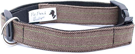 Pet Pooch Boutique Tweed Collar for Dog, Small, Brown