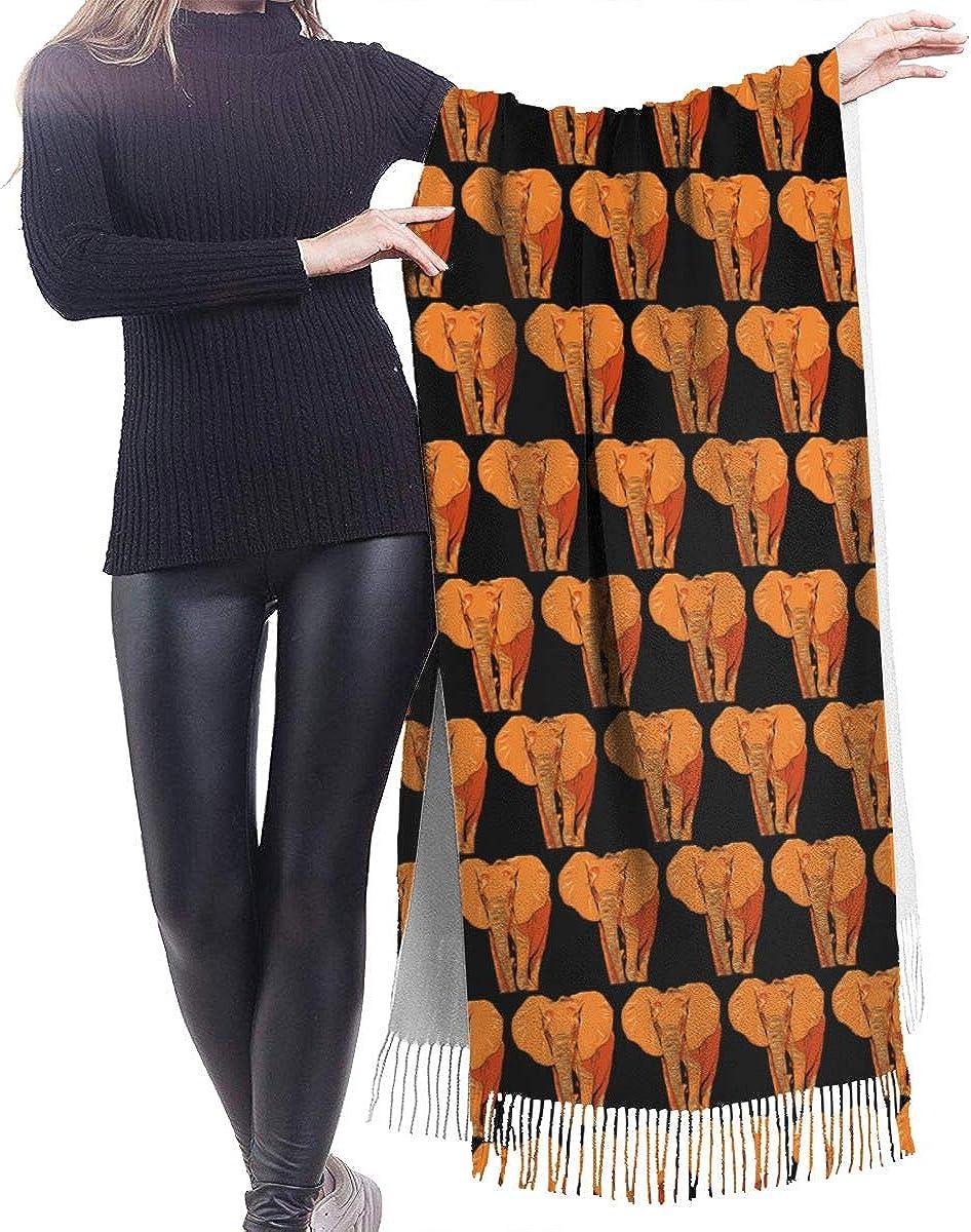 Orange Elephant Cashmere Shawl Wrap Scarf Large Warm Scarf For Women