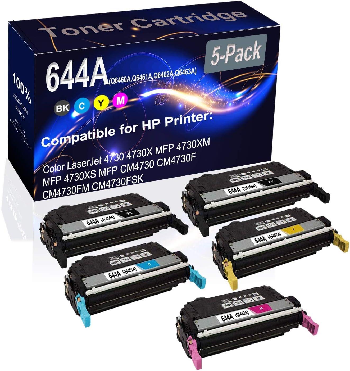 5-Pack (2BK+C+Y+M) Compatible High Yield 644A (Q6460A Q6461A Q6462A Q6463A) Printer Toner Cartridge use for HP CM4730F CM4730FM CM4730FSK Printers