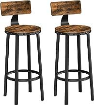 VASAGLE stołek barowy, zestaw 2 krzeseł barowych, krzesła kuchenne z solidną metalową ramą, wysokość siedziska 73,2 cm, ła...
