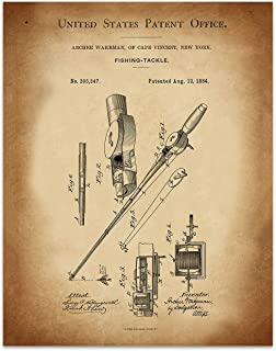 Fishing Rod Wall Decor - 11 x 14 Unframed Patent Print - Great Gift for your favorite Fisherman