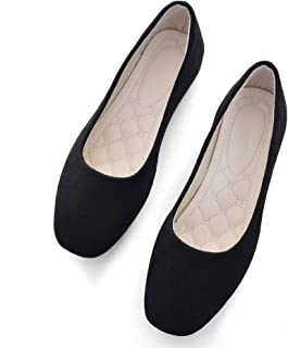 VFDB Women Comfort Square Toe Ballets Flats, Slip On Classical Walking Shoes for Wedding/Driving/Dating