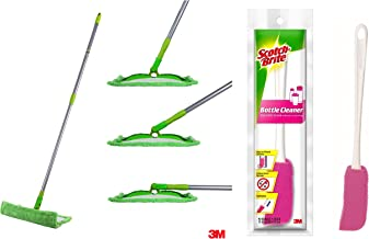Scotch-Brite Flat Mop and Refill Combofor Magic Easy Floor Cleaning & Scotch-Brite Plastic Bottle Cleaner Brush (Pink and White)