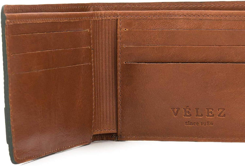 VELEZ Bifold Leather Wallet for Men - RFID 9 Card Slots Genuine Leather