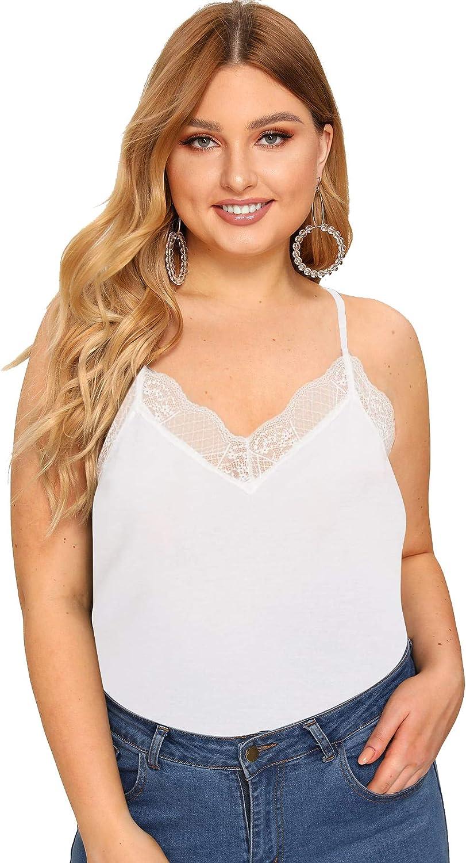 SheIn Women's Plus V Neck Sleeveless Lace Trim Spaghetti Strap Camisole Cami Tank Top