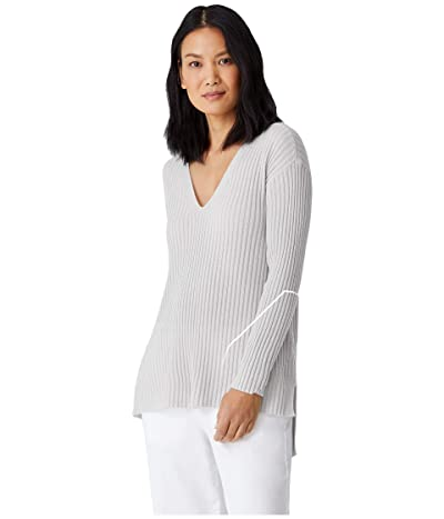 Eileen Fisher Italian Cashmere V-Neck Tunic (Chalk) Women