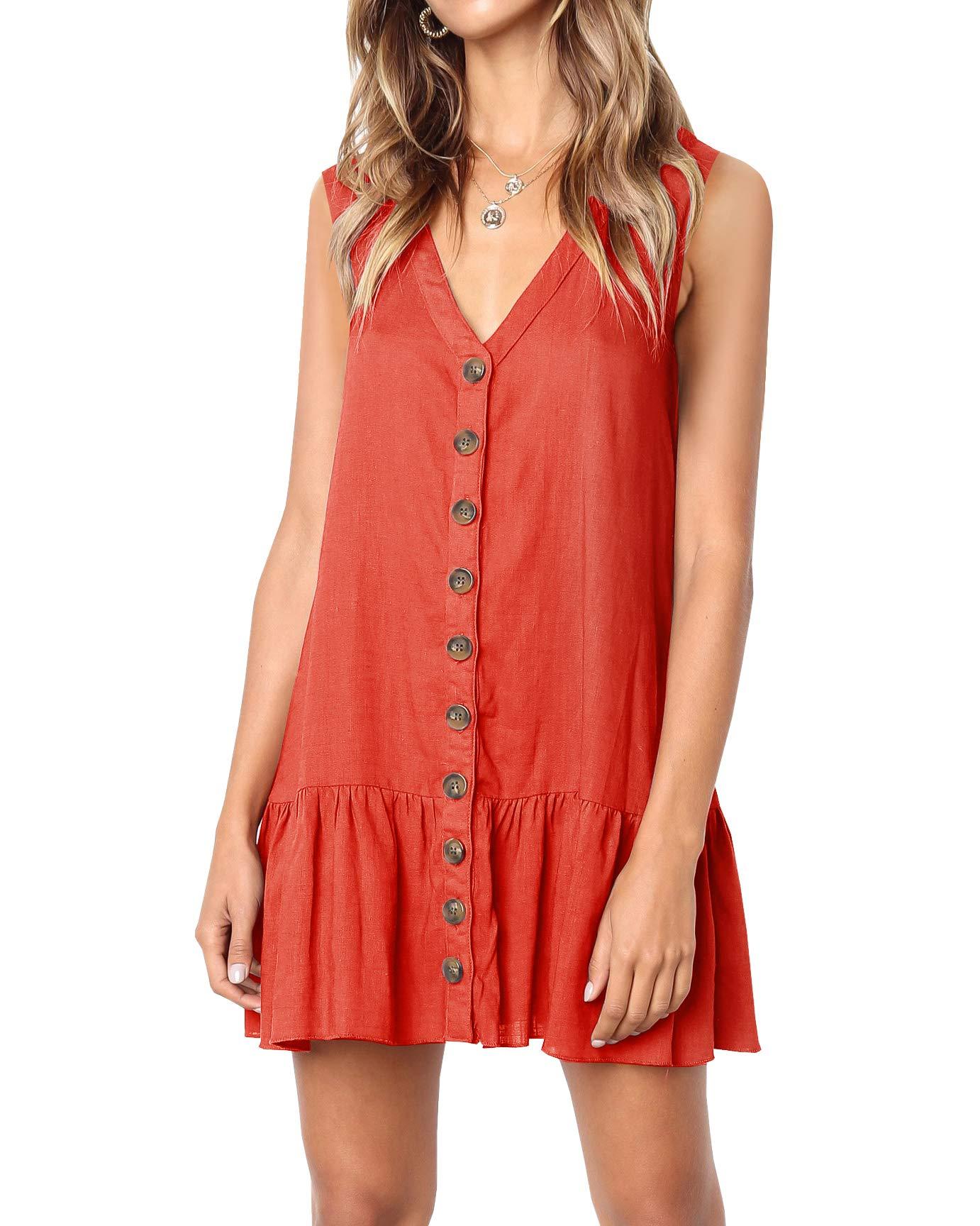 Available at Amazon: Imysty Women's Polka Dot V Neck Button Down Ruffles Loose Mini Short T-Shirt Dress