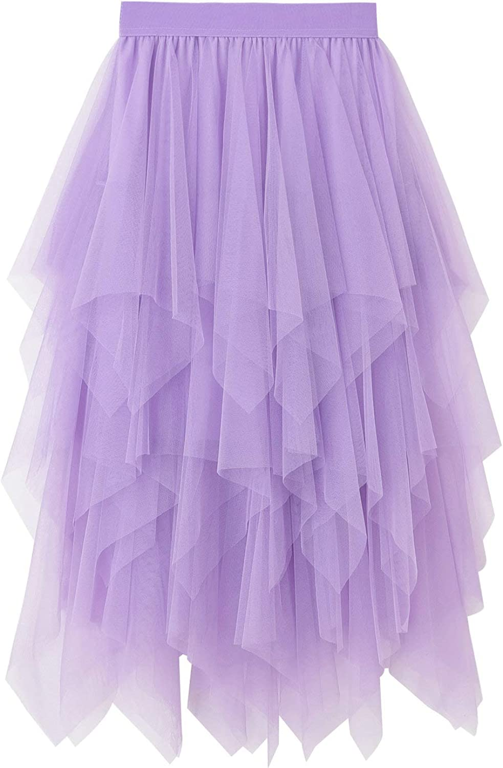 Women's Tulle Skirt High Waist Tiered Layered Mesh Ballet Prom Party Tulle Tutu A-line Midi Skirt