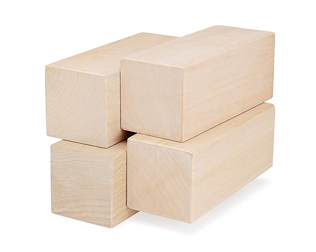 Basswood Blocks for Carving - 4 Piece Wood Carving Kit with Large Unfinished Whittling Wood Blank Blocks for Kids or Adults