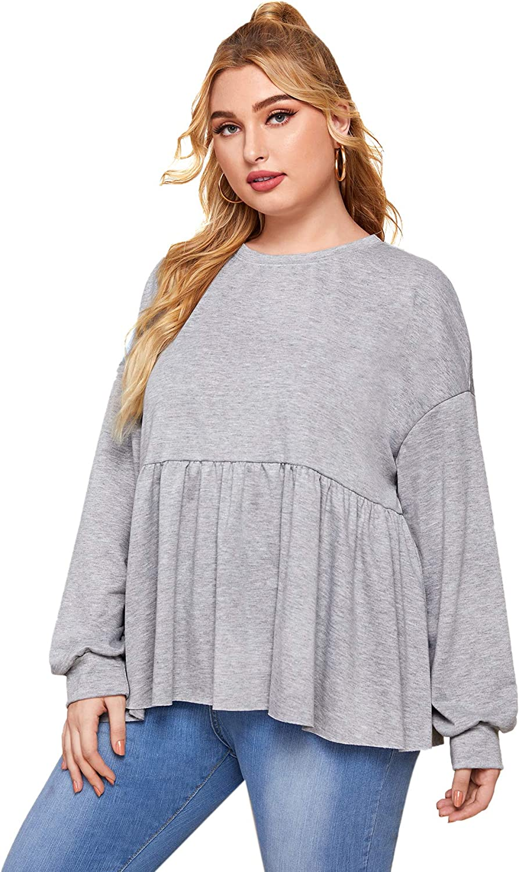 Romwe Women's Plus Ruffle Hem Drop Shoulder Sweatshirt Tops