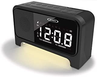 Jensen JCR-350 Digital Dual Alarm Soothing-Sounds Clock Radio with Night Light, Black