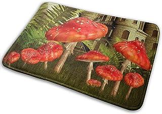 Doormats Floor Mat Magic Green Forest Castle Mushroom Area Rug Indoor Outdoor Entrance Bathroom Floor Kitchen Mats Non Sli...
