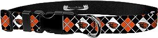 "Moose Pet Wear Adjustable Collar 1"" L, Oregon State - Orange Black Argyle"