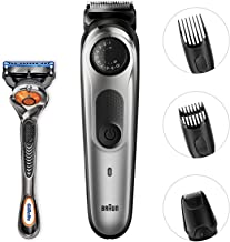 Braun Beard Trimmer BT5065, Hair Clippers for Men, Mini Foil Shaver Attachment, Cordless & Rechargeable Black/Silver
