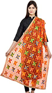 FEMEZONE Women's Phulkari Embroidered Handwork Dupatta (Orange)