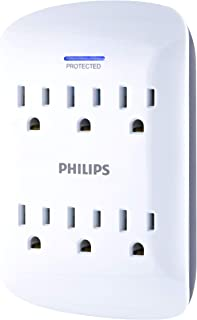 Philips 6-Outlet Surge Protector Tap, 900 Joules, Space Saving Design, Protection Indicator LED Light, Gray & White, SPP3461WA/38