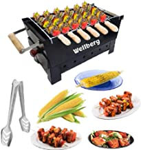 Wellberg Charcoal Grill Barbecue with 7 skewers, 1 Grill &1 Tong (Medium)