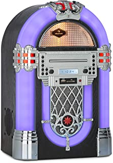 auna Kentucky Equipo Jukebox - Bluetooth, sintonizador FM, Puerto USB y Ranura SD, reproducción en MP3, Reproductor de CD,...
