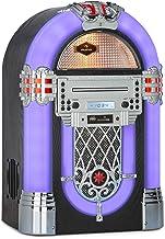 auna Kentucky Equipo Jukebox - Bluetooth, sintonizador FM, Puerto USB y Ranura SD, reproducción en MP3, Reproductor de CD, Sistema de Luces LED SRC, AUX, Carcasa con diseño Madera, Compacto, Negro