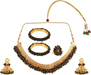 Indian Bollywood 14 K Gold Plated Faux Pearl Bead Bridal Choker Necklace Earrings Bracelet Bangles Ring Jewelry Set