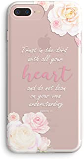 iPhone 7 Plus Case,iPhone 8 Plus Case,Girls Floral Flowers Christian Bible Verses Inspirational Pink Proverbs 3:5 Trust Lord with All Your Heart Vintage Rose Soft Clear Case for iPhone 7plus/8plus