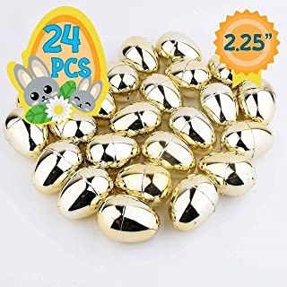 Totem World 24 2.25-inch Gold Metallic Easter Eggs - Perfect Size for Filling and Hiding Treats for Small Children - Bulk Assortment - Durable Designs That Snap Shut and Hold Tight