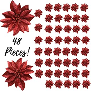 """BANBERRY DESIGNS Artificial Poinsettia Flowers - Set of 48 – 3 ¾"""" Red Glittered Poinsettia Clip On Ornaments - Christmas Decorations - Decorative Floral Accessories"""