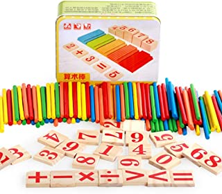 Kanggest Colorful Wooden Number Cards Counting Sticks Toys Montessori Math Rods Teaching Tools Building Blocks Preschool Math Educational Toys with Box for Baby Kids Toddler Children