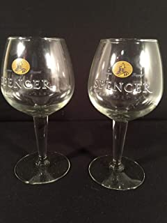 Spencer Trappist Ale Stemmed Glass Pair Rare American Monk Brewery Stemware