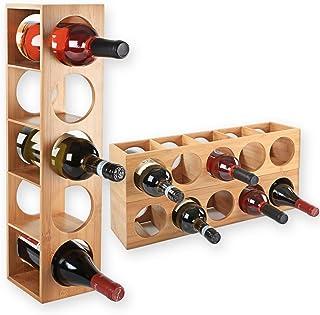 Gräfenstayn® 30543 casier à vin CUBE - empilable en bois de bambou pour 5 bouteilles de vin pour placer, placement ou pour...