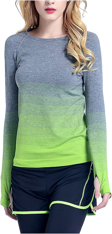 Women's Gradient Long Sleeve Yoga Top Running Workout Moisture-Wicking Performance Activewear Stylish T-Shirt Blouse