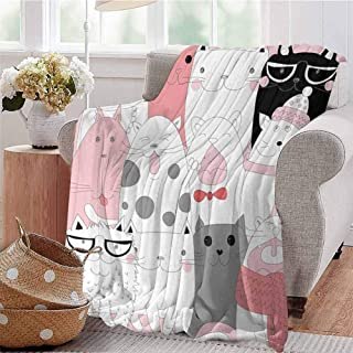 KFUTMD Summer Comforter Blanket Cute Cartoon Kittens Collection Funny Smiling Glasses Scarfs Doodle Humor Light Pink White Black Bedroom Dorm Sofa Baby Cot Beach W59 xL71