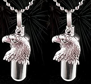 Pasco Specialty Products Set of Two Patriotic Bald Eagle Cremation URN Keychain Engraved with American Flags - with Velvet Pouches, Ball Chains & Fill Kit