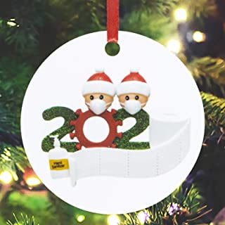 Amandir 2020 Christmas Ornaments Pendant Personalized Family Ornament Decorating Kit Santa with Mask Ornament for Christmas Tree Decorations, Christmas Creative DIY Gifts, Style1, 2 Person