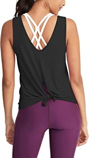 Bestisun Open Back Workout Top Sports Backless Shirts Exercise Fitness Tank Top Tie Back Tank for Gym Women