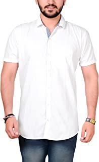 High Hill White Half Sleeve Cotton Shirts for Men