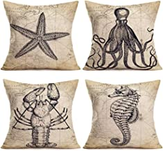"""ShareJ Set of 4 Decorative Pillow Covers Ocean Series Starfish, Octopus, Lobster, Seahorse Map Geography Background Pillow Cases Cushion Cover 18"""" x 18"""" Cotton Linen"""