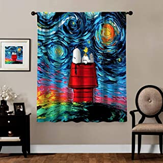 Ygosoo Window Curtains,Van Gogh Cute Snoopy with Starry Night,Living Room Bedroom Window Drapes 2 Panel Set,55x63 in