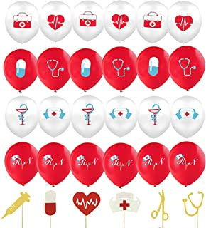 24 Pieces Nurse Balloons 12 Inch Red and White Nursing Latex Balloons And 12 Pieces Nurse Cupcake Toppers Nurse Graduation...